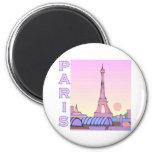 Productos rosados de la puesta del sol de París Imanes De Nevera
