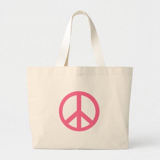 Productos rosados del signo de la paz bolsa tela grande