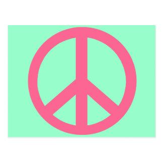 Productos rosados del signo de la paz tarjetas postales