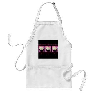 Productos rosados y negros del negocio de la magda delantales