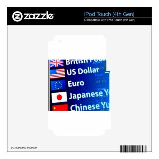 Productos temáticos de la moneda del mundo calcomanía para iPod touch 4G