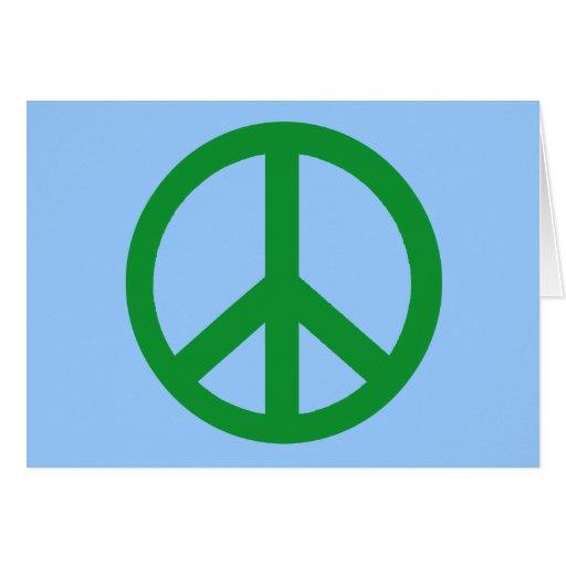 Productos verdes del signo de la paz tarjeta de felicitación