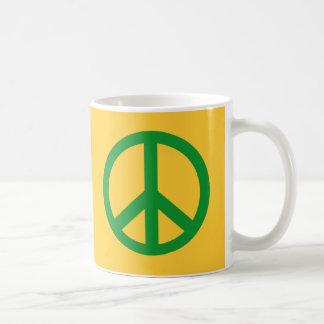 Productos verdes del signo de la paz tazas de café