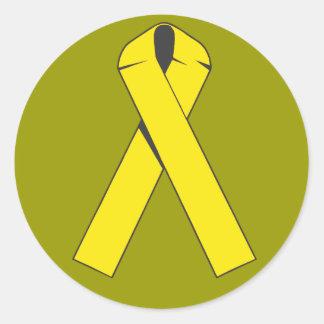 Productos y ropa amarillos de la cinta etiqueta redonda