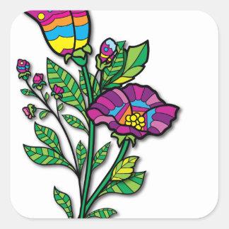 Productos y ropa coloreados multi del arte del pegatina cuadrada