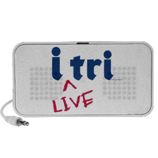 """products """"i tri"""" blue with red """"LIVE"""" Portable Speakers"""