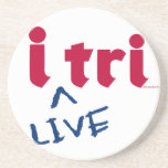 "products ""i tri"" red with blue ""LIVE"" Coaster"