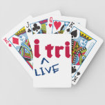 "products ""i tri"" red with blue ""LIVE"" Bicycle Poker Cards"