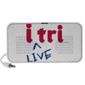 """products """"i tri"""" red with blue """"LIVE"""" Travelling Speakers"""