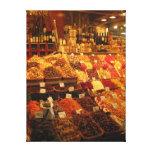 Produzca la parada, mercado de Boqueria, Barcelona Impresión De Lienzo