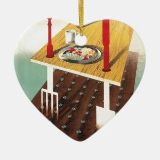 Produzca su propia comida adorno navideño de cerámica en forma de corazón
