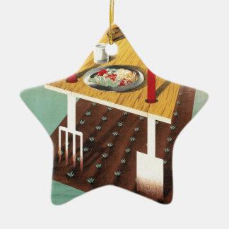 Produzca su propia comida adorno navideño de cerámica en forma de estrella