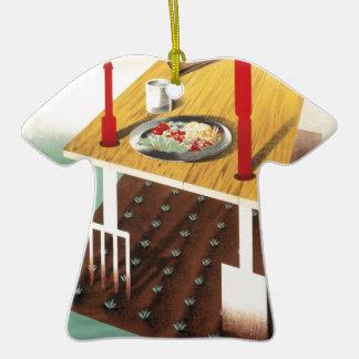Produzca su propia comida adorno navideño de cerámica en forma de playera