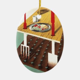 Produzca su propia comida adorno navideño ovalado de cerámica