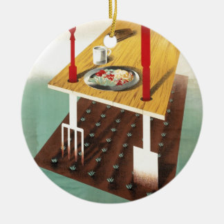 Produzca su propia comida adorno navideño redondo de cerámica