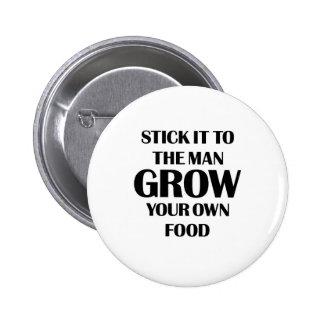 Produzca su propia comida pin redondo 5 cm