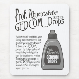 Prof. Ahnentafel's GEDCOM Drops Mouse Pad