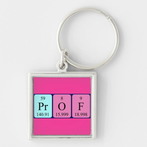 Prof periodic table name keyring key chain