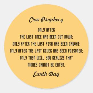 Profecía antigua del Cree Pegatina Redonda