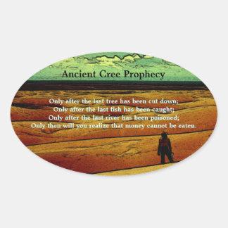 Profecía antigua del Cree Pegatina Ovalada