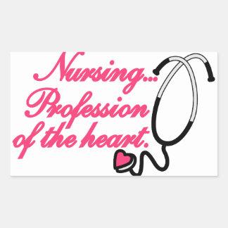 Profesión del corazón pegatina rectangular