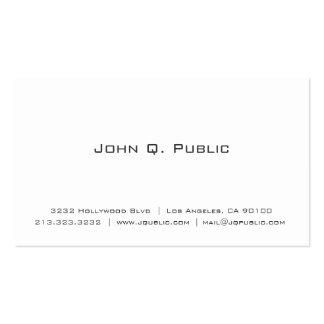 Profesional blanco llano simple tarjetas de visita