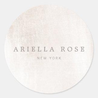 Profesional de mármol blanco cepillado elegante pegatina redonda