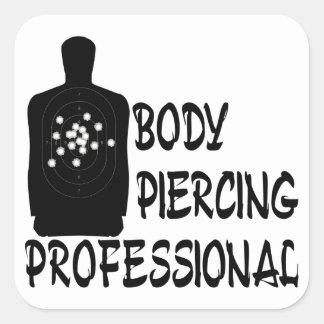 Profesional de perforación del cuerpo pegatina cuadrada