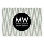 Profesional elegante círculo negro ondas agua tarjetas de visita grandes