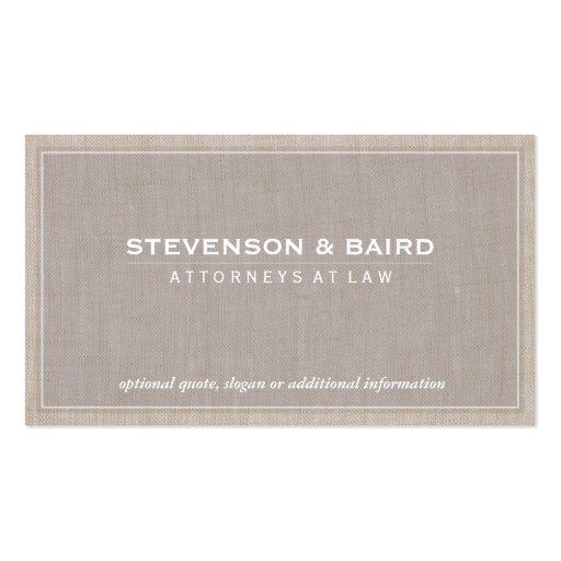 Profesional elegante de lino beige del abogado tarjetas de visita