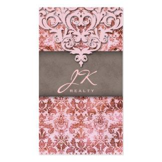 Profesional elegante del rosa del damasco del vint plantilla de tarjeta de visita