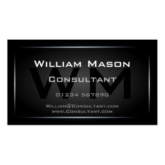 Profesional enmarcado negro con clase del monogram tarjeta personal