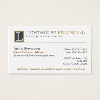 Profesional financiero del consejero del logotipo tarjeta de negocios