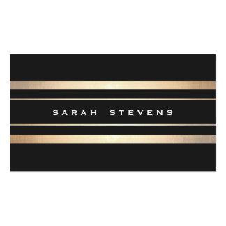 Profesional moderno rayado elegante del negro y de tarjetas de visita