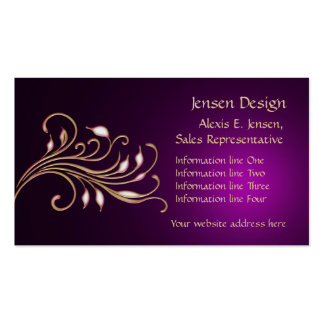 Profesional púrpura del remolino del oro tarjetas de visita