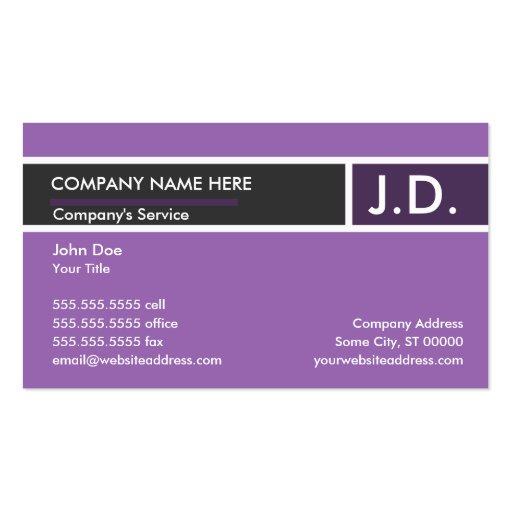 profesional púrpura tarjetas de visita