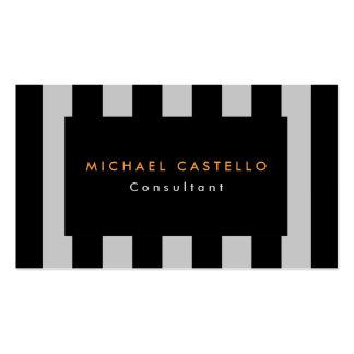 Profesional rayado del gris negro elegante moderno tarjetas de visita
