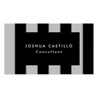 Profesional rayado del gris negro llano moderno tarjetas de visita