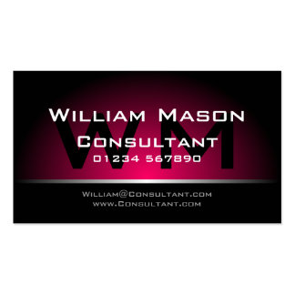 Profesional rosado negro del monograma - tarjeta d