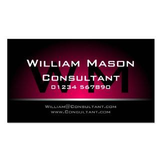 Profesional rosado negro del monograma - tarjeta d tarjetas de visita