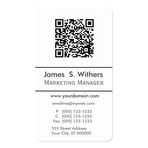 Profesional Smartphone QR Code,  Photo or Logo Business Card