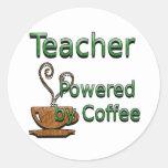 Profesor accionado por el café pegatina redonda