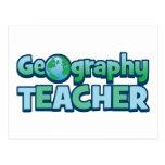 Profesor azul de la geografía del globo tarjetas postales
