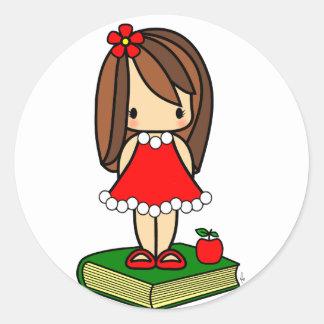 Profesor cabelludo del marrón lindo del navidad pegatina redonda