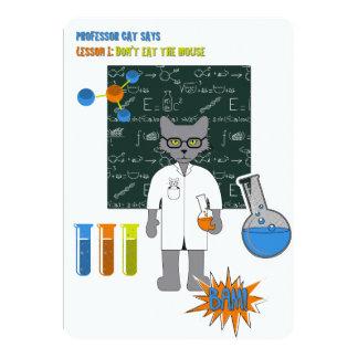 """Profesor Cat Invitation Card Invitación 5"""" X 7"""""""