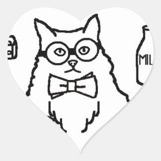 Profesor Cat Pegatina En Forma De Corazón
