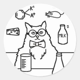 Profesor Cat Pegatina Redonda