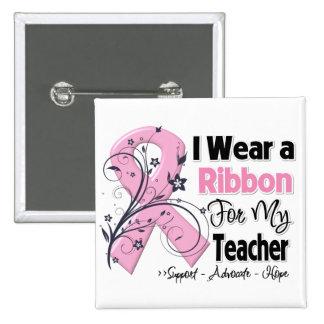 Profesor - cinta del rosa del cáncer de pecho pin