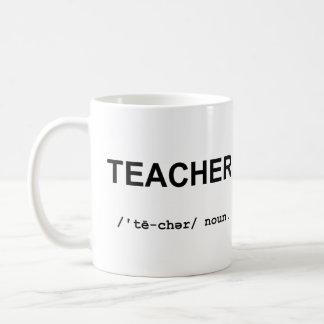 PROFESOR con la taza de los símbolos fonéticos