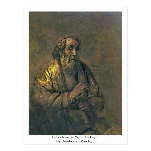 Profesor con su alumno de Rembrandt Van Rijn Tarjeta Postal